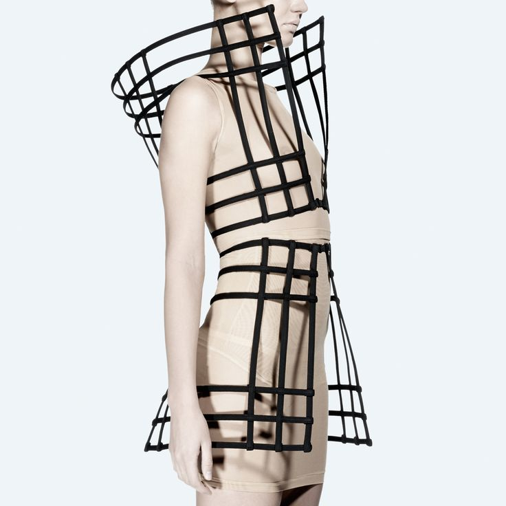 Architectural Fashion Design - sculptural two-piece with 3D scaffolding-like grid structure & exaggerated silhouette - cage dress // Chromat