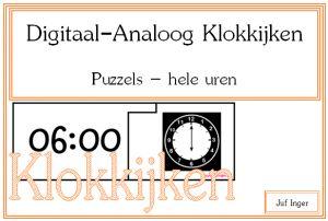 puzzels digitaal-analoog klokkijken hele uren - juf Inger