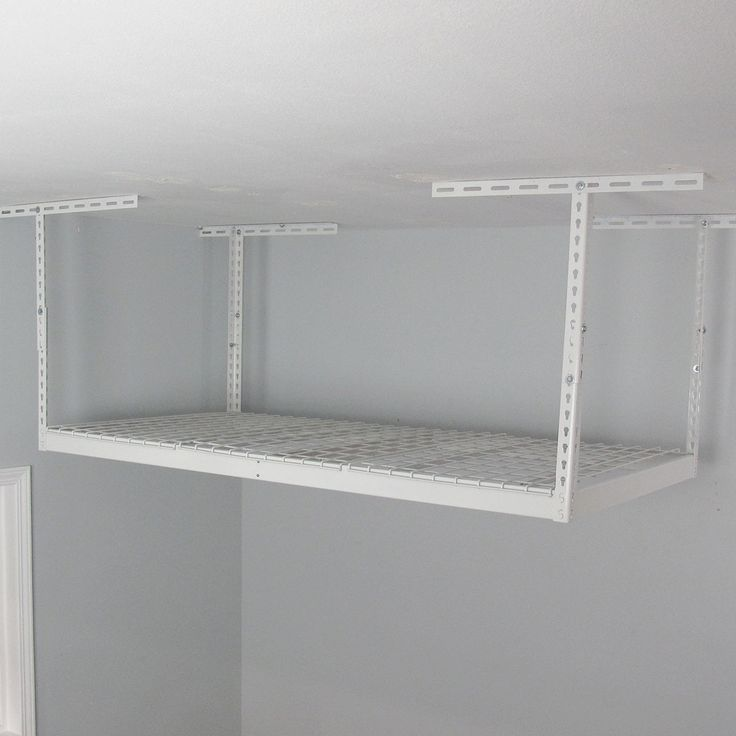 available in white this overhead garage storage rack is the perfect solution for space