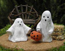 Miniature Dollhouse FAIRY GARDEN Accessories ~ Set of 2 Rustic HALLOWEEN Ghosts