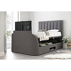 Happy Beds Ventura Fabric Ottoman Storage Bed - Grey - 5ft King
