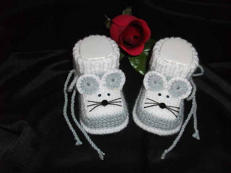 """gestrickte Babyschühchen, Babysocken """"MÄUSEKIND"""" von Rosi's Sockenreich - gestrickte Babyschuhe, Babyschühchen, Babysocken auf DaWanda.com"""