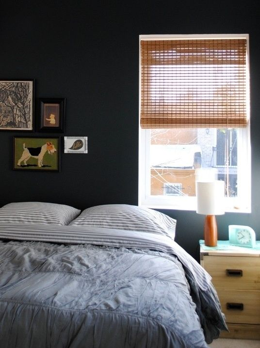 Stripe Sheets from West Elm via @Apartment Therapy photo by Kim RinehimerWall Colors, Guest Bedrooms, Big Boys Room, Gray Wall, Bedrooms Wall, Gray Bedrooms, Dark Wall, Black Wall, Accent Wall