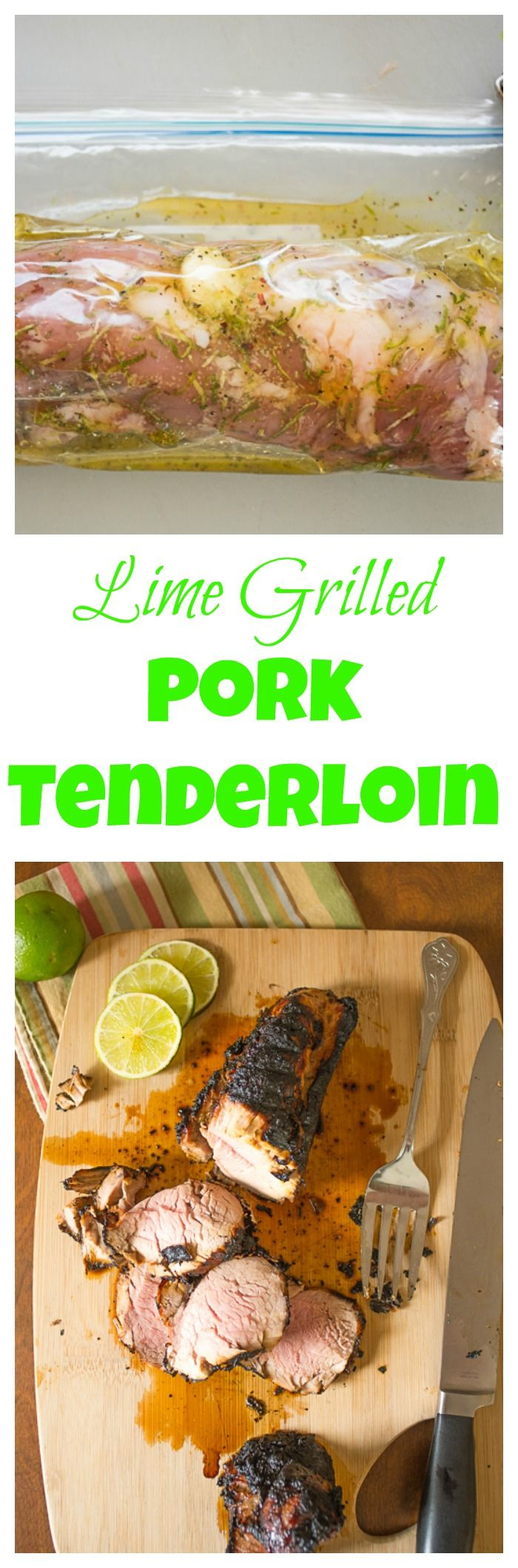 Zesty marinade of lime and honey liven up a grilled pork tenderloin. bloggingwithapples.com
