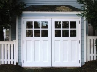 new garage door plan. Craftsman outswing with handles added.