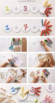 Juegos matemáticos para niños con pinzas…