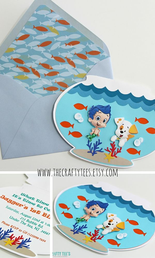 Bubble Guppies Invitations - Fish Bowl Invitation - Birthday - Custom Order Available - 10/pack