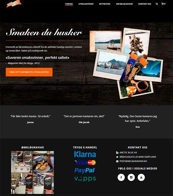 Responsiv og mobilvennlig nettbutikk for Melbu kaviar. Designet og implementert av Nettrakett AS