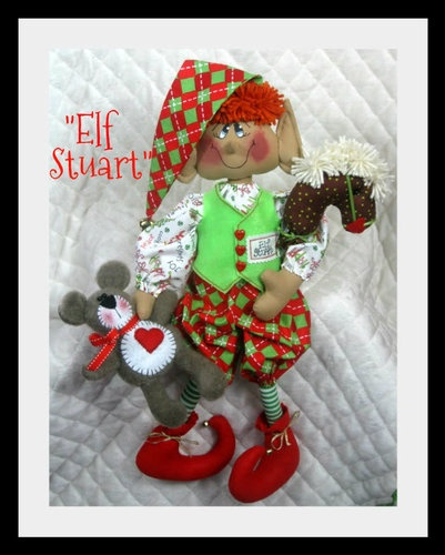"♥♥ Primitive Raggedy Christmas 22"" ""Stuart"" Toy Maker Elf Pattern 70 ♥♥ 