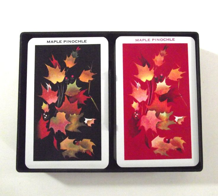 Vintage Pinochle Set, Two Full Decks of Kem Pinochle Cards with Autumn Maple Leaves Illustration in Plastic Box by planetalissa on Etsy