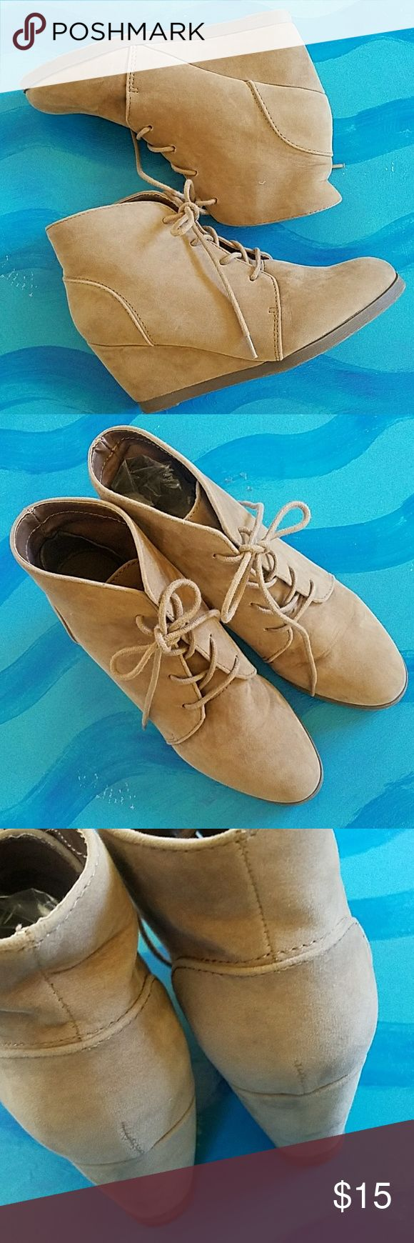 """Nude ANKLE BOOT Madden Girl Domain lace up bootie textile upper, man made materials 2.5"""" wedge heel EUC size 7 suede like, nude, tan Madden Girl Shoes Ankle Boots & Booties"""