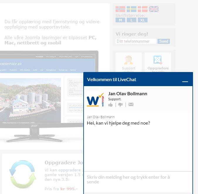 Kundene kan chatte med Web Norge på våre websider.