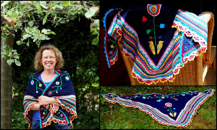 My own designed and handmade shawl, feeling proud :-) - crochet by Moira Macfarlane