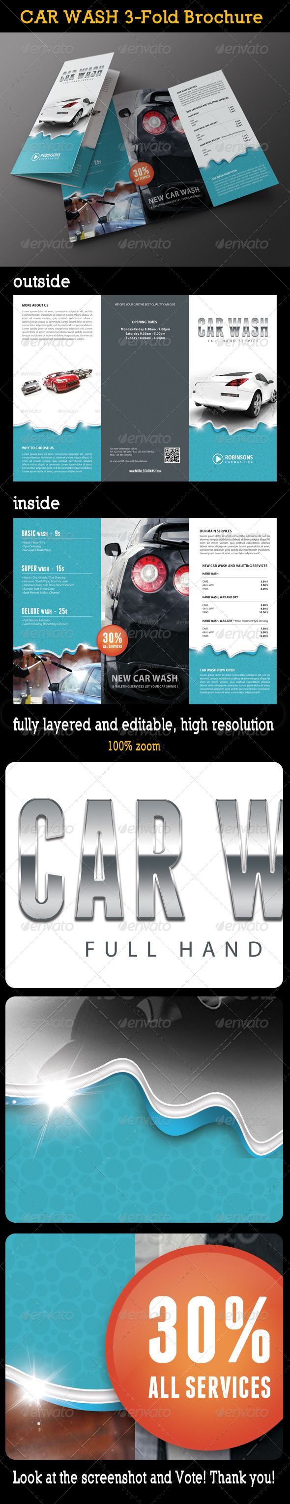 Car Wash & Auto Detailing Services or Car wash Equipment. Highly editable PSD brochure template, very easily customise to make it your own in seconds! http://franchise.avenue.eu.com/