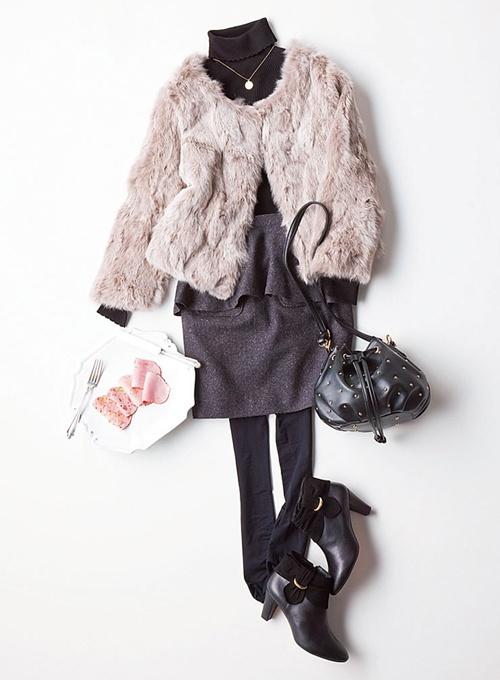 【着まわしday10】ファーコート×タートルニット×ペプラムスカート   ファッション コーディネート   with online on ウーマンエキサイト