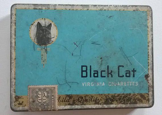 Vintage Black Cat Cigarette Tin Black Cat Virginia