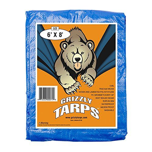 """Grizzly Tarps 6 x 8 Feet Blue Multi Purpose Waterproof Poly Tarp Cover 5 Mil Thick 8 x 8 Weave  True 8x8 weave 5 mil thick waterproof tarp  Lighweight washable and mildew proof with rope in hem  Woven and laminated polyethlene with heat sealed seams  Supplied with built in grommets every 36"""" to allow for secure tie downs  Can be used as protection for boats, cars or motor vehicles, providing shelter from the elements, ie., wind, rain or sunlight for campers, as an emergency roof patch ..."""