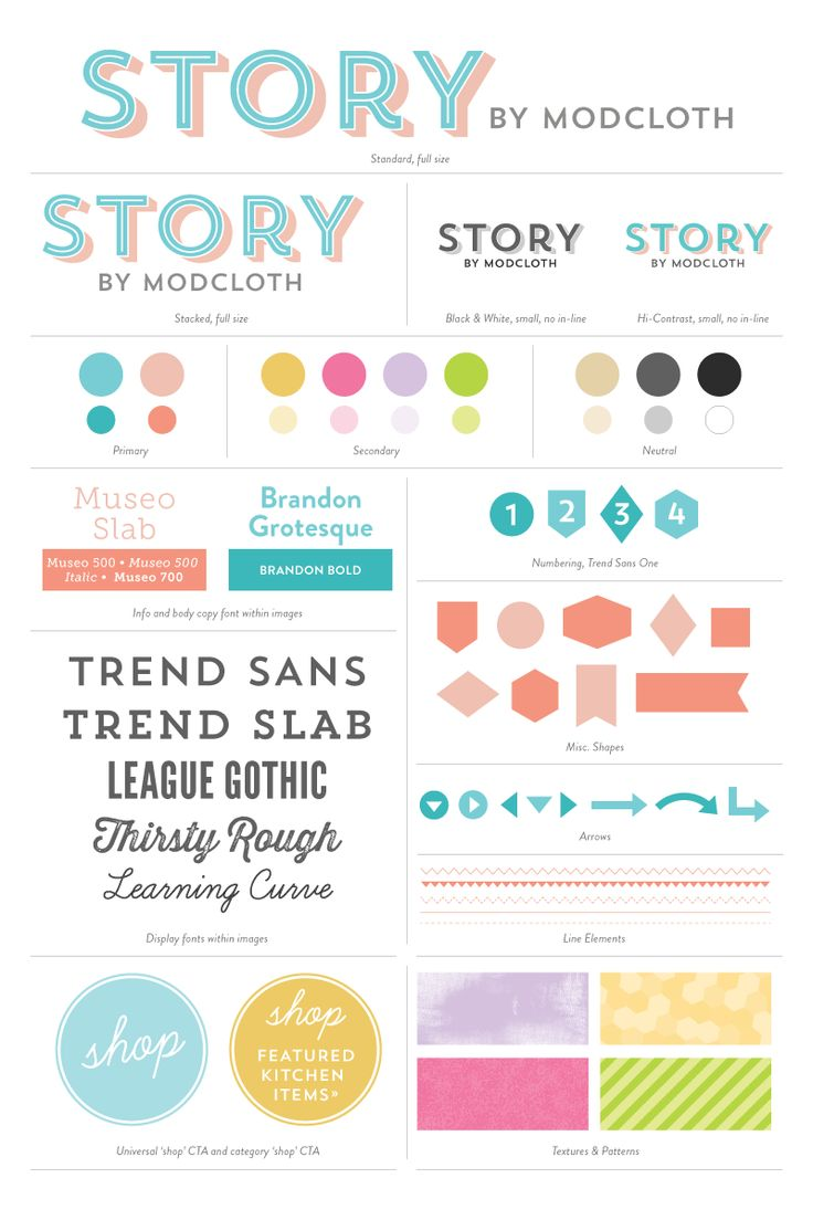 Bright colors, retro-tinged type, and popping patterns — that's what our new blog is made of! We had too much fun creating this style guide for our new blog, Story by ModCloth.