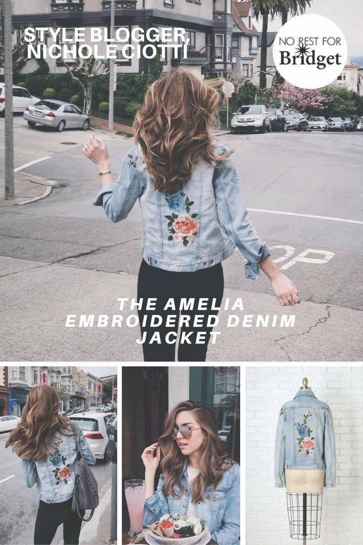 Give your off-duty wardrobe an effortlessly-cool spin with our Amelia Embroidered Denim Jacket as seen on Style Blogger, Nichole Ciotti. Available on www.norestforbridget.com #styleblogger