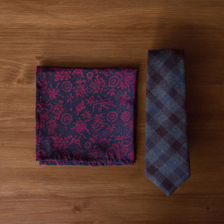 New to the shop - a grey, blue, and black check necktie. Made from cashmere wool.