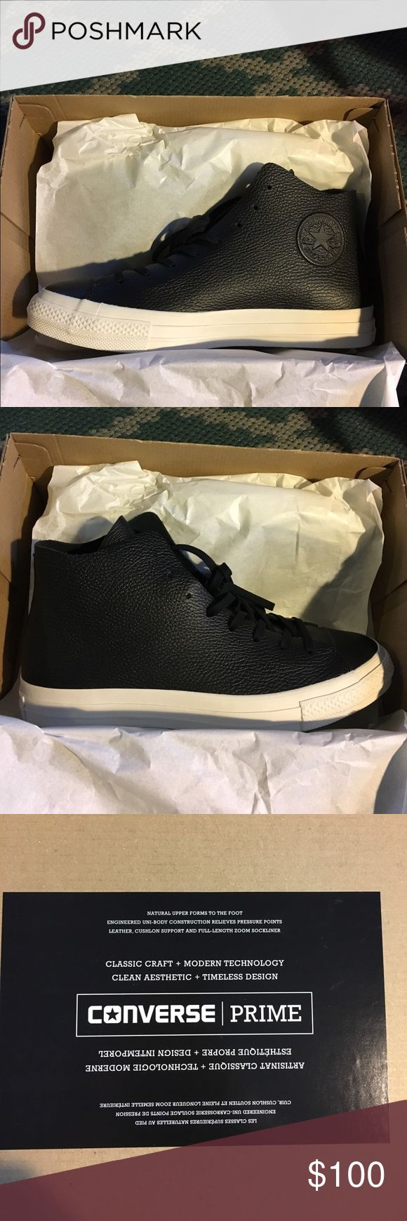 NIB Leather Converse with Nike Zoom Technology! New in box. Seriously cool shoe. Bought them for groomsmen but they already had black shoes that worked. Leather. From a pet free and smoke free home Converse Shoes