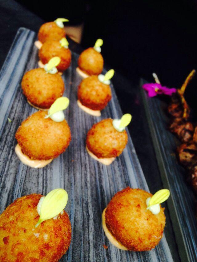Pumkin and double cream brie risotto balls