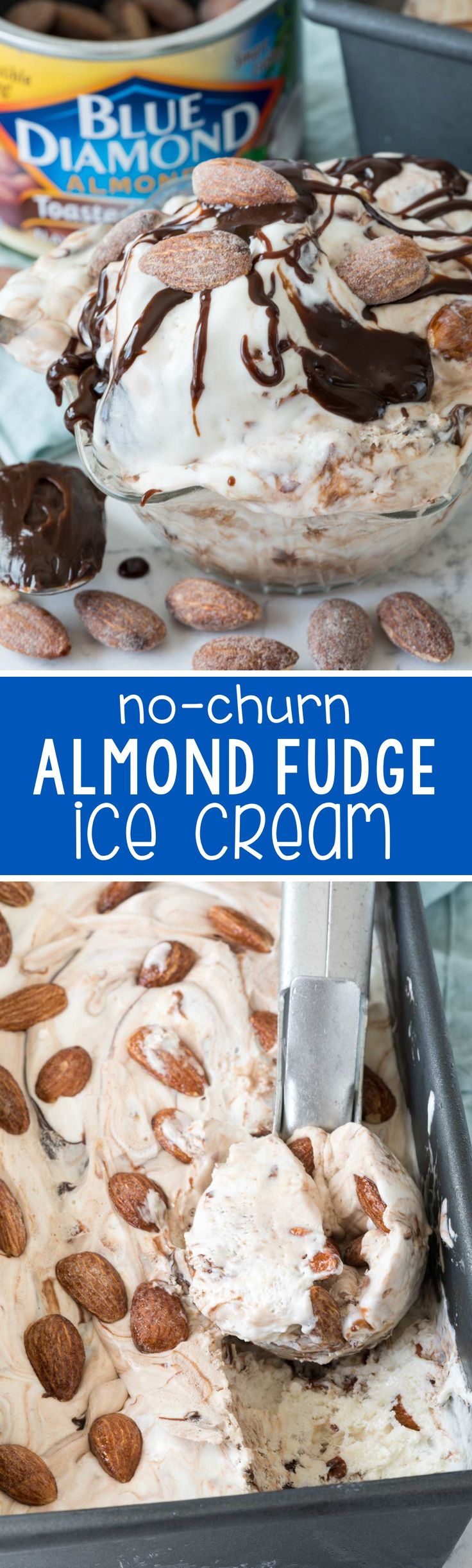 No Churn Almond Fudge Ice Cream - this easy ice cream recipe doesn't need a machine! It's full of almonds and lots of hot fudge - we ate this in just one day!