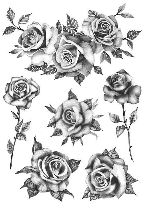 Rose Flower Set (Set of 6) – Temporary Tattoo / Realistic Roses Tattoo / Tattoo Roses / Flower Tattoo / Black Roses / Temporary Tattoo Flowers