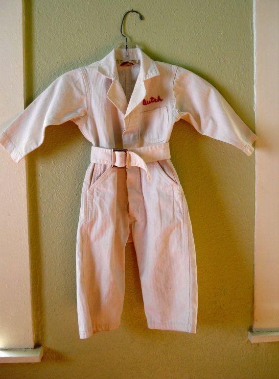 Vintage 1950s Childs Work Coveralls Denim Jumpsuit 2013605