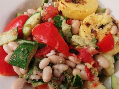 Polenta with White Beans, Broiled Vegetables and a Lemon-Caper Vinaigrette