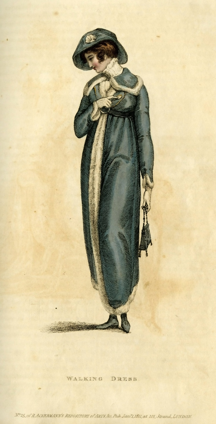Fashion Plate (Walking Dress), Rudolph Ackermann (England, London, 1764-1834), Vol. 5, Plate 4: 1811, English, hand-coloured engraving on paper.