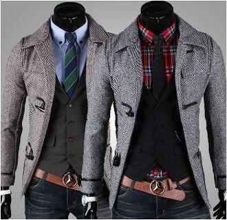 Men's Horn Button-Up Slim Fit Coat.  the belt buckle has to go..