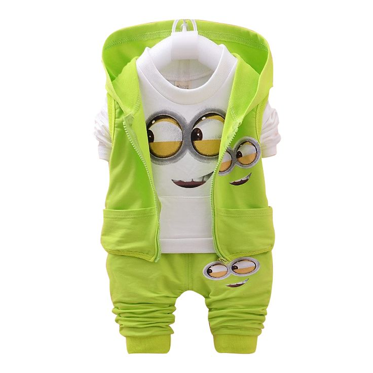2016 Autumn Boys Clothing Sets Kids Coat jacket+T Shirt+Pants 3 Pcs Children Sport Suits Baby Girls Boys Minion Clothes set