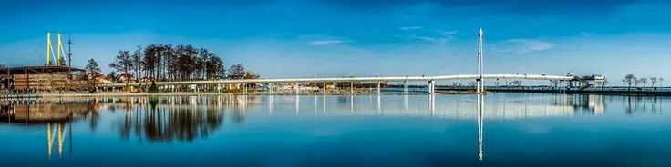 Giżycko,  bridge, Niegocin lake,  Poland