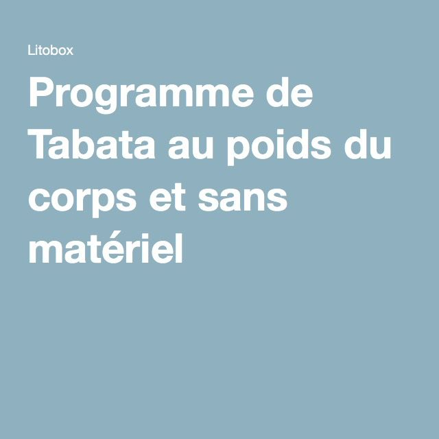 Programme de Tabata au poids du corps et sans matériel