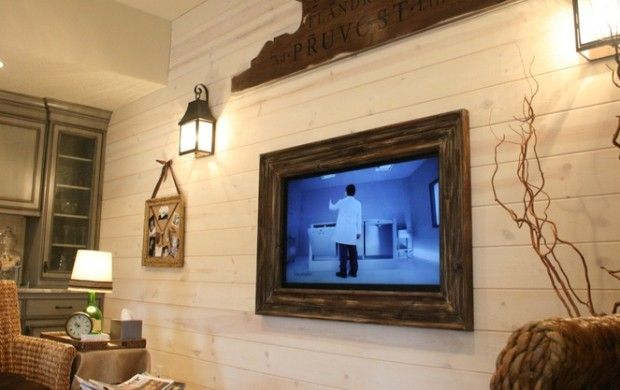 Spruce up your living room with a rustic TV frame