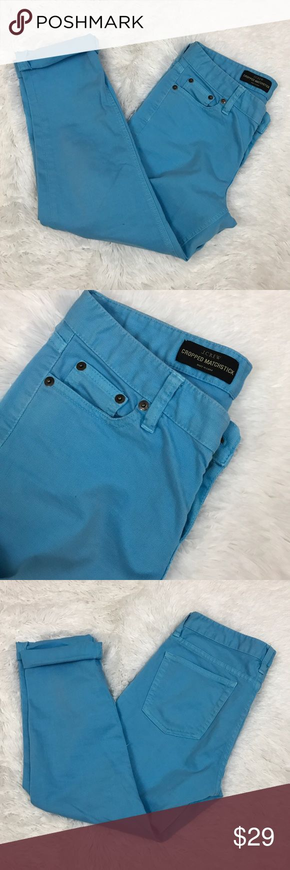 "J.Crew Matchstick Cropped blue jeans Sz 28, 396 These J.Crew cropped matchstick style bright blue jeans are a fun spring color! A closet staple in a fun bright color! They are a size 28 and measure 16"" flat across the waist with a rise of 8"" and an inseam of 22""-25"" depending on if you cuff them or not.  They are in good preowned condition with one small faint spot on the leg( see last image). J. Crew Jeans Ankle & Cropped"
