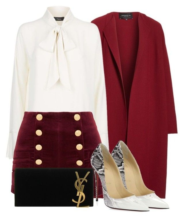 Untitled #602 by rebecky89 on Polyvore featuring polyvore fashion style Lafayette 148 New York Pierre Balmain Christian Louboutin Yves Saint Laurent clothing