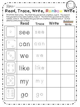 Sight Words Roll, Read, Trace, Write, Rainbow Write!  Top