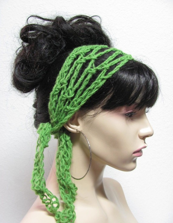 "Green Firefly shimmery silver specks Crochet Gypsy Style Hair Band and Scarf in one! These will not slip and fully adjustable.    ""Rosie Scarfie"" Debu..."