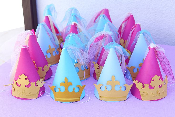 Party hats got the princess treatment with crowns and ribbon. Source: Melody Melikian Photography