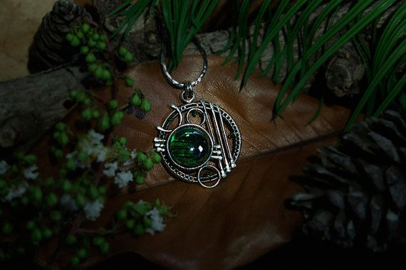 Celestial Sphere #7 Sterling Silver (925) pendant with green glass and green beads. Size approximately: 48mmX45mm We make other pendants with the