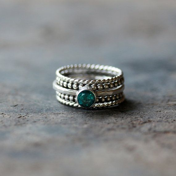 Green Topaz Stacking Ring Set Sterling Silver Dotted Twisted 5 Five Bands Stacker Handmade Jewelry