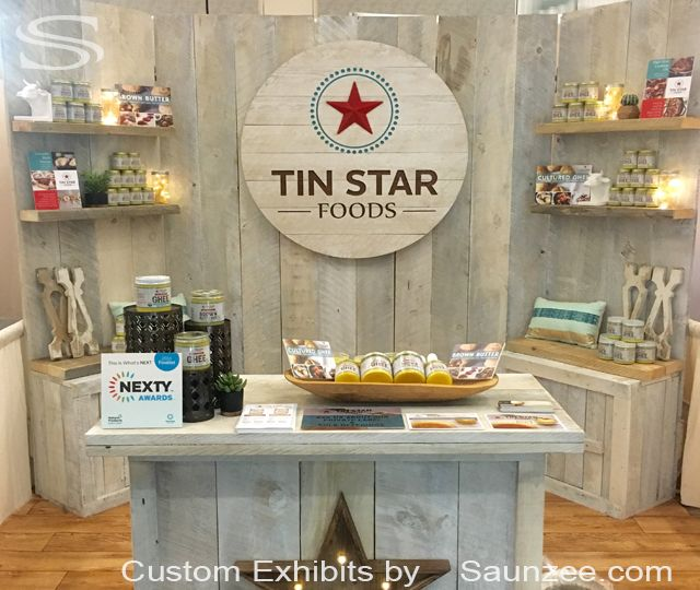 Custom White Wash Barn Wood Trade Show Booths Exhibits Rustic Wood Trade Show Exhibits Portable Wood Trade Show Exhibits Free Standing Exhibition Walls Tin Star Foods
