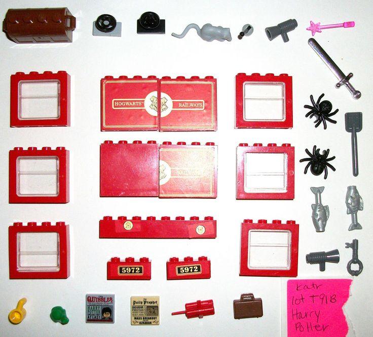 > > > $26.50 < < <    LEGO WAND FROG KEY RAT Hogwarts Express Harry Potter Tile Train Red Windows lot  #LEGO