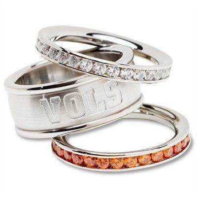 Logo Art Tennessee Volunteers Ladies Spirit Crystal Stacked Ring Set