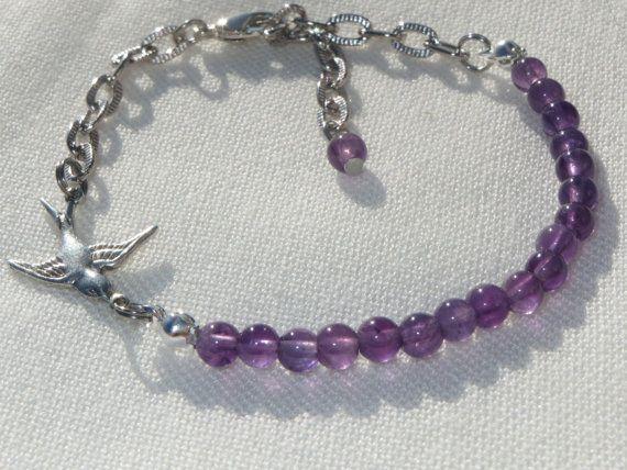 Amethyst Bracelet Bird Bracelet Amethyst Jewelry Bird by Thielen
