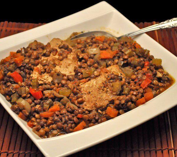 Slow Cooker Pork and Lentil Stew; tulips
