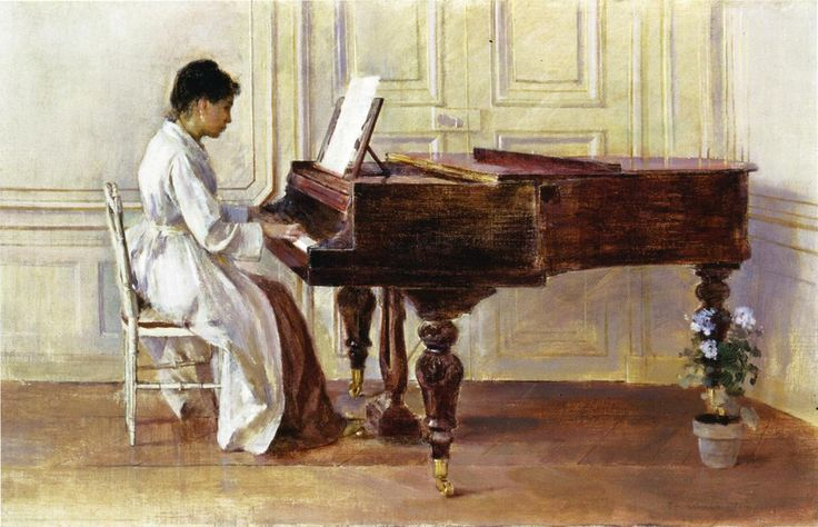 Theodore Robinson (American, 1852-1896), [Old Lyme Colony, Impressionism] At the Piano, 1887.