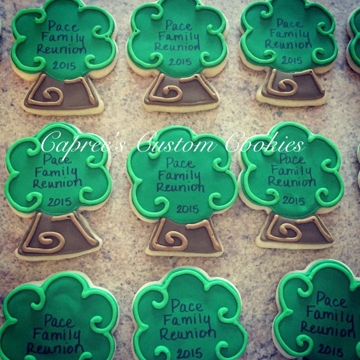 Custom family tree cookies for a family reunion. Decorated with royal icing.